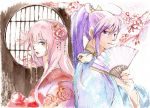 1girl back-to-back bad_id bird blue_eyes cherry_blossoms couple fan flower folding_fan hair_in_mouth hair_ornament japanese_clothes kamui_gakupo kimono long_hair megurine_luka mouth_hold pink_hair purple_hair sayo_f traditional_media vocaloid watercolor_(medium) yumemiru_kotori_(vocaloid)