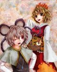 2girls animal_ears basket blonde_hair brown_hair capelet gem grey_hair hair_ornament hand_behind_head hands_on_hips jeweled_pagoda jewelry kabaji long_sleeves mouse mouse_ears mouse_tail multicolored_hair multiple_girls nazrin necklace oil_painting_(medium) open_mouth pendant red_eyes tail tiger_print toramaru_shou touhou traditional_media two-tone_hair wide_sleeves wink yellow_eyes