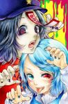 2girls :p acrylic_paint_(medium) blue_eyes blue_hair chinese_clothes dripping fang fingernails hat head_to_head heterochromia long_sleeves looking_at_viewer millipen_(medium) miyako_yoshika multiple_girls nail_polish ofuda open_mouth pale_skin red_eyes sharp_fingernails short_hair star tatara_kogasa tongue touhou traditional_media tsubugaai yellow_background