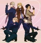 axis_powers_hetalia black_hair blonde_hair blue_eyes brown_eyes brown_hair china_(hetalia) france_(hetalia) glasses gloves hat kurosuke_shiro long_hair necktie police ponytail pose russia_(hetalia) scarf smile uniform united_kingdom_(hetalia) wink