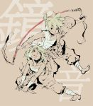 1girl action barefoot beige blonde_hair bow brother_and_sister brown couple dynamic feet gekokujou_(vocaloid) headset kagamine_len kagamine_rin knife monochrome red_eyes sarashi siblings spot_color tongue traditional_media twins vocaloid wafuu_kimuchi weapon