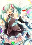 aka_tonbo_(lililil) aqua_eyes aqua_hair feathers hatsune_miku long_hair necktie smile twintails vocaloid wings
