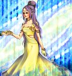blue_eyes dress earrings faris_scherwiz final_fantasy final_fantasy_v flower gloves hair_bun hair_ornament jewelry long_hair necklace purple_hair sarisa_highwind_tycoon