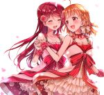 2girls :d ^_^ ahoge bangs blush bow braid breasts cherry_blossoms choker cleavage closed_eyes collarbone commentary_request dress flower gloves hair_bow hair_flower hair_ornament half_updo hand_holding jewelry long_hair looking_at_another love_live! love_live!_sunshine!! multiple_girls necklace open_mouth orange_hair overskirt pearl_necklace petals pink_flower pink_rose red_choker red_eyes red_ribbon redhead ribbon ribbon_choker rose round_teeth sahara_(charlotte) sakurauchi_riko short_hair side_braid smile striped striped_ribbon takami_chika teeth upper_teeth white_bow white_gloves wrist_flower yuri