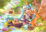 aqua_eyes aqua_hair bear bird blush bunny butterfly cloud clouds deer detached_sleeves grass hatsune_miku headset kiss long_hair lying mouse nanami_tomorou nature necktie panties rabbit rainbow skirt sky squirrel thigh-highs thighhighs tree twintails underwear very_long_hair vocaloid water