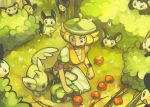 1girl apple bag bel_(pokemon) beret blonde_hair emolga eric_muentes food forest fruit green_eyes hat kneeling long_skirt minccino nature pokegear pokemon pokemon_(game) pokemon_bw satchel short_hair skirt watch watch