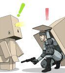 beretta_92 box cardboard_box crossover danbo gun handgun metal_gear_solid pistol sjw_kazuya solid_snake suppressor surprise surprised weapon yotsubato!