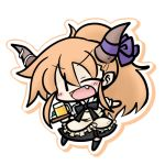 beer chibi cosplay fang ibuki_suika lowres orange_hair simple_background solo taneshima_popura taneshima_popura_(cosplay) touhou waitress wink working!! yanagi_(artist)
