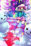 blush checkered detached_sleeves kobanzame open_mouth original pink_eyes scarf short_hair skirt smile snow snowflakes snowman striped striped_thighhighs thigh-highs winter zettai_ryouiki