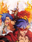 angry bandages cape fire highres kamina kuroko_(sunege) male pointing pose shirtless solo sunglasses sword tengen_toppa_gurren_lagann weapon