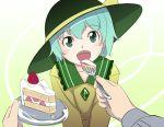 fang feeding food green_eyes green_hair gustav_(telomere_na) gusutafu hat komeiji_koishi pov pov_feeding touhou