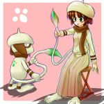 :p brown_hair green_eyes hat lowres moemon personification pokemon pokemon_(game) pokemon_gsc ranphafranboise scarf smeargle stool tail tenjou_ryuka tongue