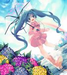 amezawa_koma aqua_eyes aqua_hair bad_id blush boots cloud clouds dress dutch_angle flower hair_ribbon hatsune_miku headphones highres hydrangea long_hair looking_at_viewer pink_dress rain rainbow ribbon rubber_boots skirt sky smile solo transparent_umbrella twintails umbrella very_long_hair vocaloid water water_drop wet
