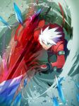 1boy belt blazblue gloves green_eyes heterochromia ice jacket male ragna_the_bloodedge red_eyes smoke solo sword weapon white_hair
