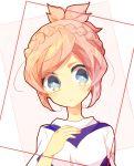 1girl blue_eyes bust face frown inazuma_eleven_(series) inazuma_eleven_go inazuma_eleven_go_galaxy nozaki_sakura pink_hair shinsei_inazuma_japan soccer_uniform solo yuui1994