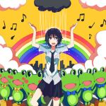 bad_id black_eyes black_hair cloud clouds frog kosa_k musical_note necktie open_mouth original rain rainbow school_uniform short_hair solo standing_on_one_leg wet