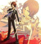 blazer brown_hair fire flame katana male necktie persona persona_2 school_uniform short_hair solo suou_tatsuya sword tenchi11 tenti-11 weapon zoom_layer
