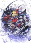 blonde_hair blue_hair chain character_doll checkered checkered_floor flandre_scarlet gua guitar hat highres instrument ponytail red_eyes remilia_scarlet short_hair side_ponytail solo touhou wings