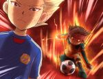 artist_request ball brown_hair electricity endou_mamoru fire glowing glowing_eyes gouenji_shuuya headband inazuma_eleven male multiple_boys playing_sports shirataki soccer soccer_ball sport sweat telstar
