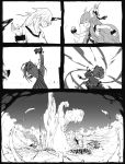 battle comic highres horn horns hoshiguma_yuugi ibuki_suika long_hair monochrome multiple_girls ngra oni silent_comic star touhou
