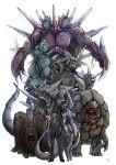 armor creepy dugtrio golem_(pokemon) gym_leader highres male mewtwo nidoking nidoqueen pokemon pokemon_(anime) realistic rhydon rhyhorn sakaki_(pokemon) simple_background team_rocket