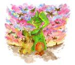 hippopotas nature no.017 no._017 no_humans pokemon traditional_media trapinch twilight vibrava watercolor_(medium)