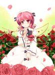 eyes flower hat heart highres komeiji_satori looking_at_viewer luna_child luna_child_(cosplay) niiya petals pink_hair red_eyes rose short_hair shushing solo third_eye touhou