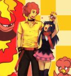 1boy 1girl afro age_difference blue_hair height_difference hikari_(pokemon) holding holding_poke_ball long_hair magby magmortar ooba_(pokemon) poke_ball pokemon pokemon_(creature) pokemon_(game) pokemon_dppt red_hair redhead scarf thighhighs wink ymy