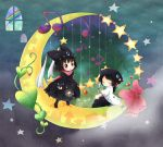 animal_ears animal_hat black_hair cat_ears cat_hat cathat chibi closed_eyes crescent crescent_moon hat heart instrument moon multiple_girls music musical_note orange_lore original rainbow sitting star window