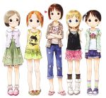 ana_coppola ankle_socks barasui blonde_hair blue_eyes brown_eyes brown_hair casual contemporary ichigo_mashimaro itou_chika itou_nobue kneehighs matsuoka_miu multicolored_legwear red_hair sakuragi_matsuri socks striped striped_socks