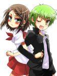 2girls androgynous baka_to_test_to_shoukanjuu kinoshita_yuuko kudou_aiko okita_yuuichi reverse_trap school_uniform