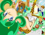 blue_eyes ghost_(mausuman34) green_hair horns lum moroboshi_ataru oni swimsuit ten_(urusei_yatsura) tiger_print tiger_prints urusei_yatsura