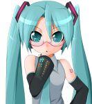 aqua_hair glasses hatsune_miku necktie potion_(artist) potion_(moudamepo) twintails vocaloid