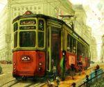 city cityscape hot_air_balloon japanese_clothes kimihiyo kimono scenery streetcar tram