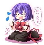 1girl blush bow capelet chibi closed_eyes hat hat_removed hat_ribbon headwear_removed ichimi long_sleeves mimikaki musical_note nagae_iku open_mouth purple_hair ribbon shirt skirt smile solo touhou translated