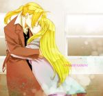 1girl blonde_hair couple edward_elric fullmetal_alchemist hoshino_hitsuki hug kiss long_hair ninn spoilers winry_rockbell