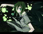 1girl androgynous antennae aqua_eyes bad_id cape glowing green_hair katakura_nayuuki letterboxed reverse_trap shirt short_hair short_sleeves solo touhou white_shirt wriggle_nightbug