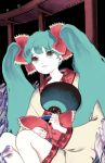 hair_ribbon hatsune_miku japanese_clothes kimono maedubi paper_fan ribbon short_kimono twintails uchiwa vocaloid