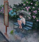 1girl barefoot bench black_eyes black_hair bus_stop flower frog original rain ryouga_(fm59) shoes_removed short_hair skirt solo umbrella water wet