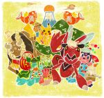 doll fan food fruit gastrodon instrument kadomatsu magikarp mandarin_orange mikami miltank mount_fuji mountain no_humans pikachu pokemon scizor shellos squirtle taiko_drum tauros volcano wreath
