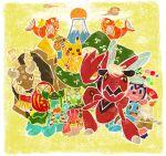 doll fan food fruit gastrodon instrument kadomatsu magikarp mandarin_orange mikami miltank mount_fuji mountain no_humans pikachu pokemon pokemon_(creature) scizor shellos squirtle taiko_drum tauros volcano wreath