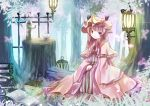 1girl blush book bow butterfly cage capelet crescent cup dress hat lantern long_hair patchouli_knowledge pot purple_hair ribbon sitting touhou violet_eyes