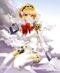 aegis android blonde_hair blue_eyes bodysuit bow cloud clouds maeda_hiroyuki persona persona_3 ribbon short_hair white