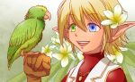1girl :d androgynous aura_bella_fiora bird blonde_hair blue_eyes brown_gloves flower gloves green_eyes hair_between_eyes heterochromia jewelry k-ta necklace open_mouth overlord_(maruyama) parakeet pointy_ears red_shirt shirt short_hair smile solo