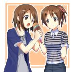 bad_id brown_eyes brown_hair casual food hair_ornament hair_ribbon hairclip highres hirasawa_ui hirasawa_yui ice_cream k-on! masamuuu multiple_girls open_mouth ponytail ribbon short_hair siblings sisters smile