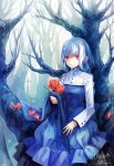 bare_tree blue braid branch colored_eyelashes cross dhiea dress expressionless eyelashes flower holding original petals red_eyes rose rose_petals signature silver_hair sitting solo tree