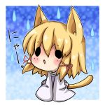 :o animal_ears blonde_hair blush cat_ears cat_tail chibi hair_ribbon kemonomimi_mode moriya_suwako nyan o_o open_mouth rain raindrops ribbon short_hair solo tail touhou translated water_drop yuya_(night_lily)