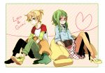 banana blonde_hair carrot casual food fruit glasses green_eyes green_hair gumi high_heels kagamine_len leggings pillow shoes short_hair sleeves_rolled_up smile tama_(songe) vocaloid