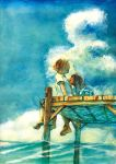 androgynous barefoot blue_eyes child feet highres jetty looking_up multiple_girls natsuki_(sunmanday) ocean pixiv_festa reverse_trap sitting sky smile traditional_media water watercolor_(medium)