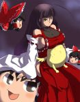 absurdres ahoge black_hair bow breast_rest breasts detached_sleeves hakurei_reimu headboob highres hime_cut mugen_(game) ninin_ga_shinobuden onsokumaru rekise sendai_hakurei_no_miko sideboob sweat touhou yellow_eyes yukkuri_shiteitte_ne